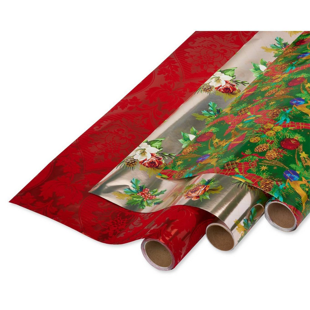 Image of Papyrus Christmas Tidings Flocked Flourish and Holiday Poinsettia Gift Wrap, Red