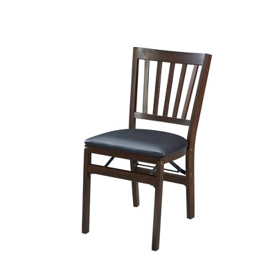 Set of 2 School House Folding Chair Espresso Brown - Stakmore