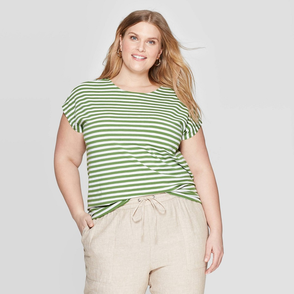 2d61d7692b77b2 Womens Plus Size Striped Short Sleeve Crewneck Tie Back T Shirt Ava Viv  GreenWhite 3X