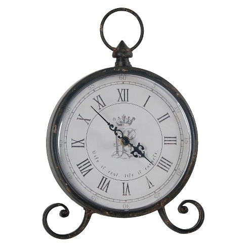 Round Pocket Watch Table Clock Black - A&B Home® - image 1 of 1