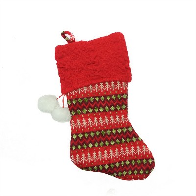 "Northlight 19"" Red and Green Sweater Knit Christmas Stocking with Pom Poms"