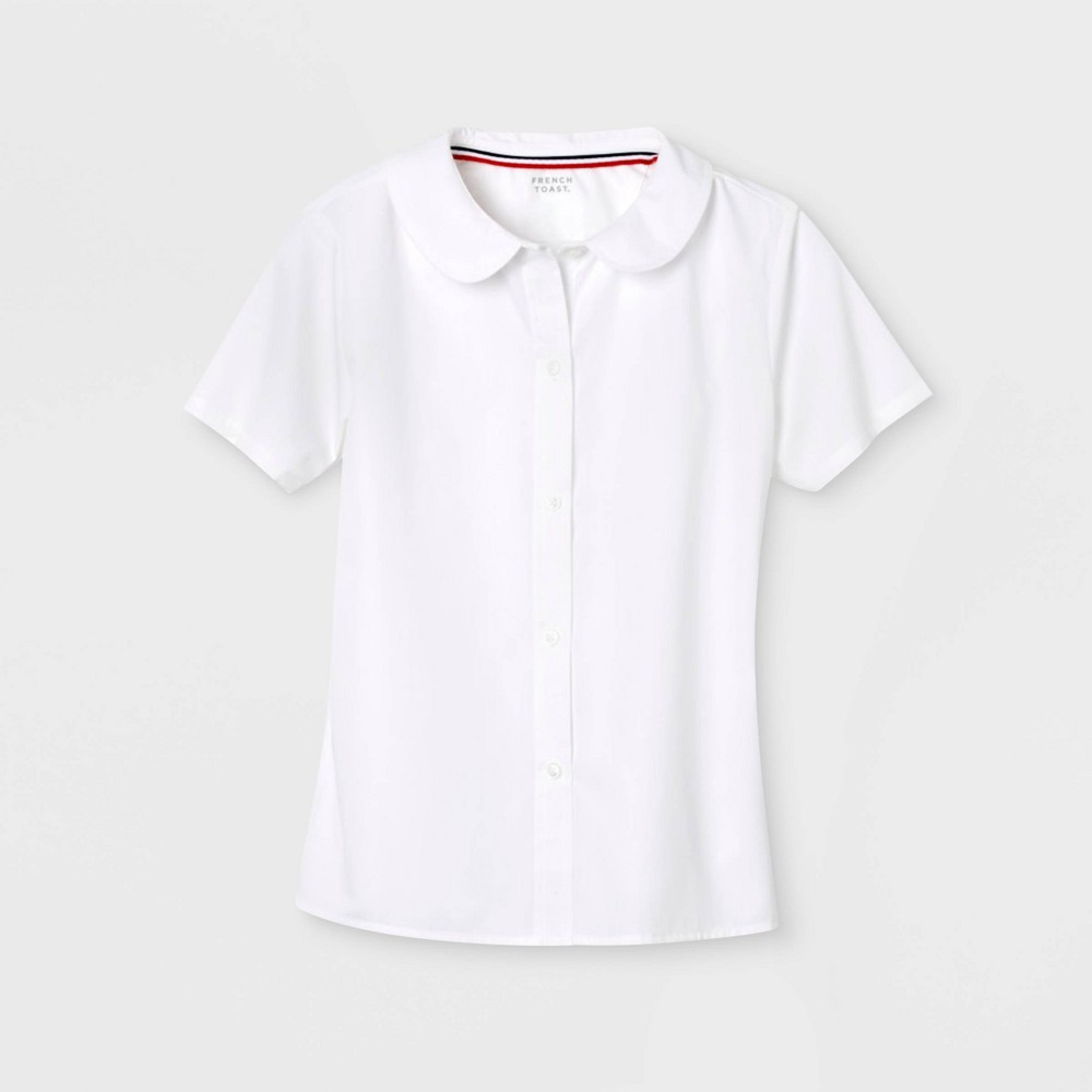 French Toast Girls Woven Uniform Blouse With Peter Pan Collar White 8