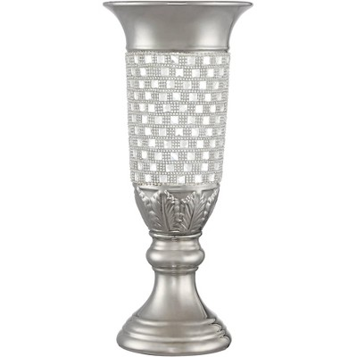 "Dahlia Studios Alino Crystal 16"" High Silver Pillar Urn Vase"