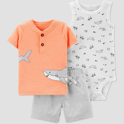 Baby Boys' 3pc Shark Embroided Top and Bottom Set - Just One You® made by carter's Orange/Gray/White 12M