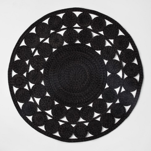 c972185386b 6' Ornate Woven Round Outdoor Rug Black - Opalhouse™   Target
