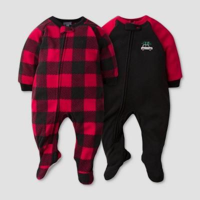 Gerber Baby Boys' 2pk Plaid Footed Pajama - Black 12M