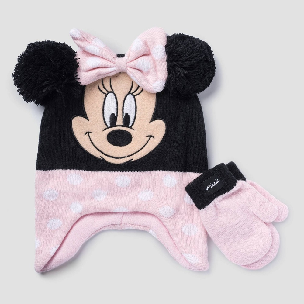 Image of Toddler Girls' Minnie Mouse Gloves - Black/Pink One Size, Toddler Unisex