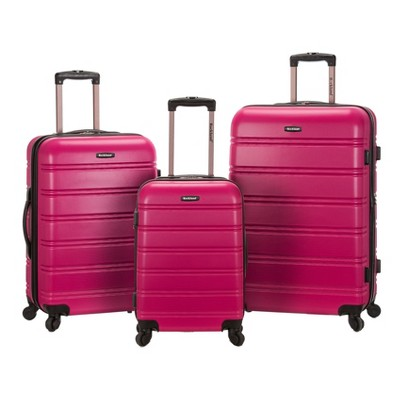 Rockland Melbourne 3pc ABS Luggage Set - Magenta