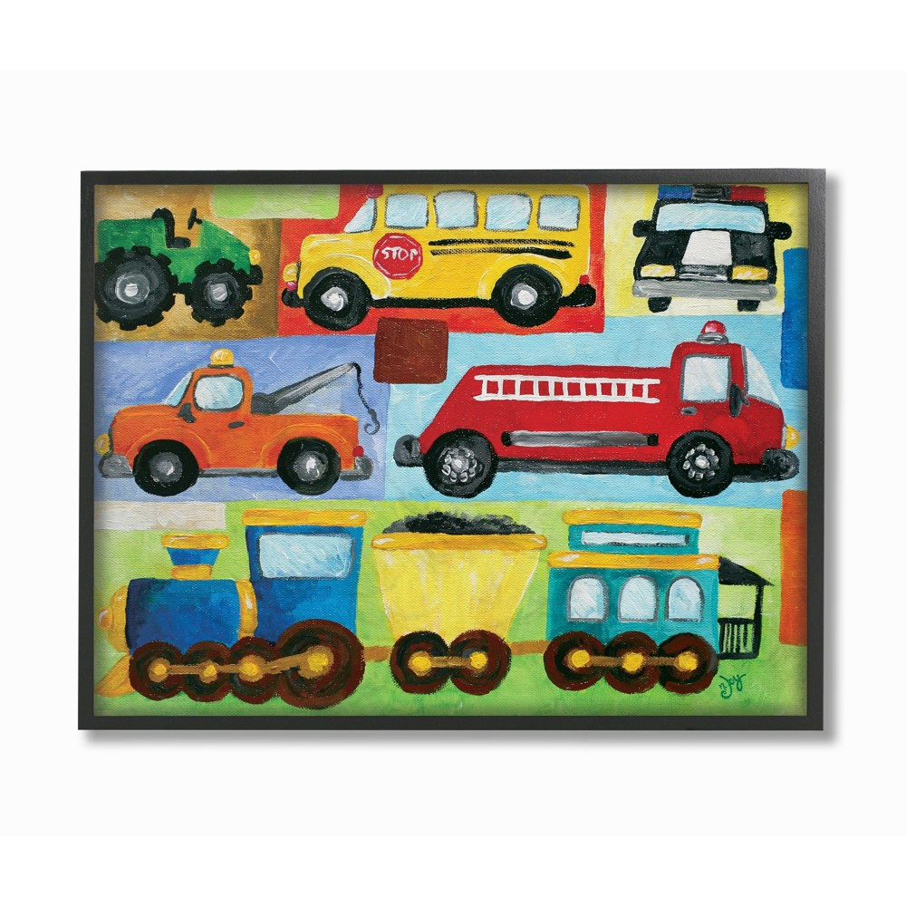 Transportation Collage Framed Giclee Texturized Art (11x14