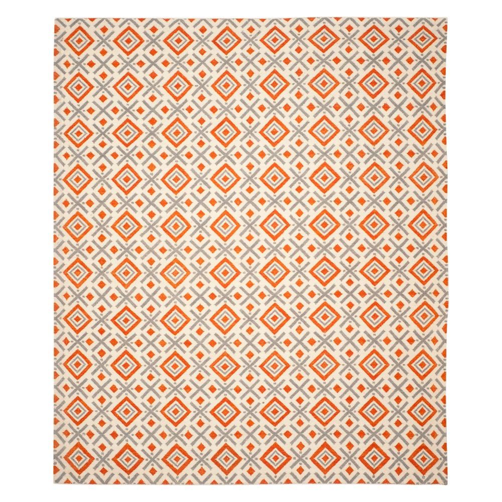 8'X10' Geometric Area Rug Ivory/Tangerine - Safavieh, White