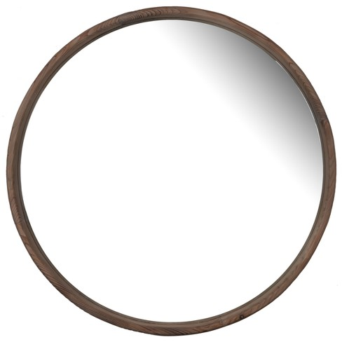 Round Decorative Wall Mirror 27 x 27 Antique Wood - A&B Home - image 1 of 6