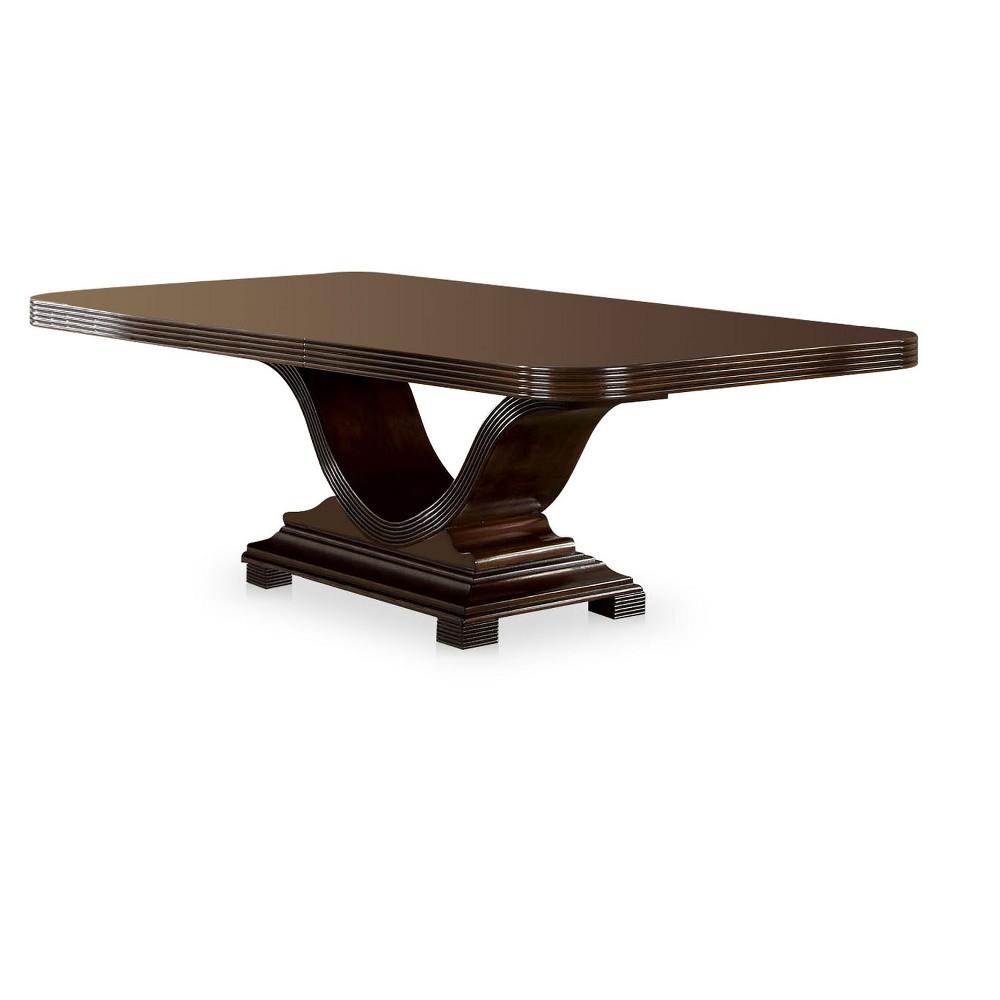 Sun & Pine V-Shaped Pedestal Dining Table Wood/Walnut