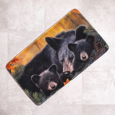 Lakeside Cozy Bears Memory Foam Rug for Bathrooms, Kitchens with Decorative Nature Print