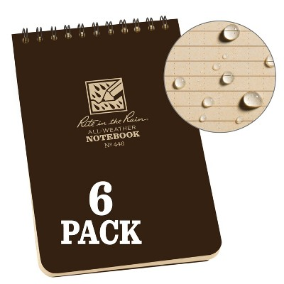 """6pk Spiral Notebook 1 Subject Special Ruled 4"""" x 6"""" Brown - Rite in the Rain"""