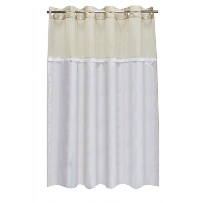 Solid Fabric Shower Liner White - Hookless
