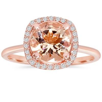 Pompeii3 1 3/4 CT Morganite & Diamond Cushion Halo 14K Rose Gold Ring