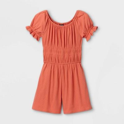 Girls' Smocked Waist Short Sleeve Romper - art class™