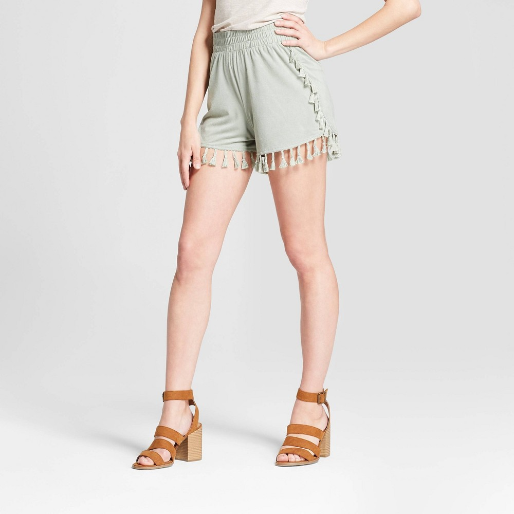 Image of Women's Faux Suede Tassel Trim Shorts - Soul Cake (Juniors') Sage L, Size: Small, Brown