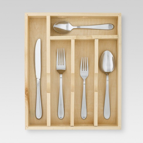 45pc Stainless Steel Almiqua Silverware Set With Caddy - Threshold™ - image 1 of 1
