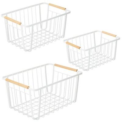 mDesign Metal Garage, Home Storage Organizer Basket - Set of 3