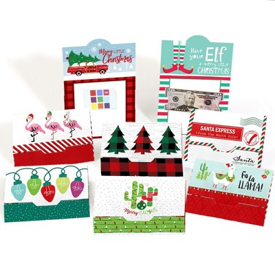 Big Dot of Happiness Red and Green Assorted Holiday Cards - Christmas Money and Gift Card Holders - Set of 8