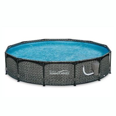 Summer Waves P20012331 Active 12ft x 33in Outdoor Round Frame Above Ground Swimming Pool Set with Skimmer Filter Pump & Filter Cartridge, Gray Wicker