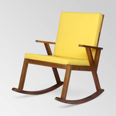 Champlain Acacia Wood Rocking Chair, Outdoor Rocking Chair Cushions Target