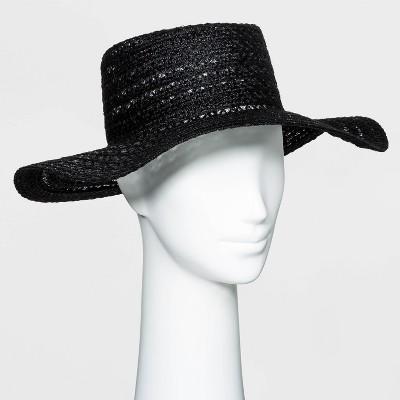 Women's Packable Braided Jute Boater Hat - Universal Thread™ Black