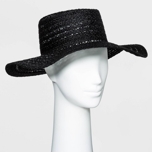 Women's Packable Braided Jute Boater Hat - Universal Thread™ Black - image 1 of 1