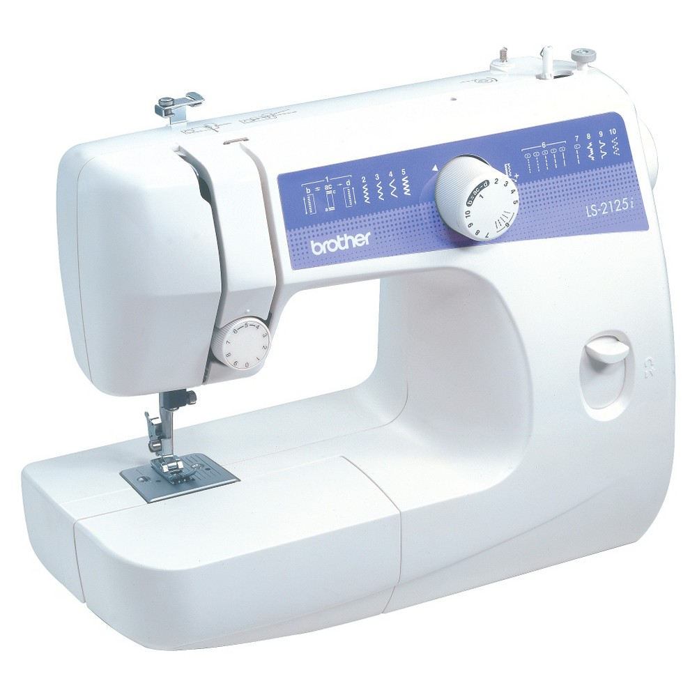 Brother International LS2125i Sewing Machine Sew and mend on the go or at home with the lightweight Sewing Machine from Brother that has an automatic four-step buttonholer. This portable sewing machine weighs only 13-pounds, is easy to store and features 10 built-in stitches to accommodate a sewer's most common needs. The perfect lightweight sewing machine for beginners or more advanced sewers, this sewing machine set comes complete with a range of extra feet and accessories including needles, bobbins, a darning plate, a buttonhole foot and more. With a free arm, built-in light and reverse stitch function, this beginner's sewing machine is a great way to start crafting clothes, quilts, pillows and more.
