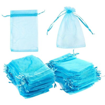 Blue Panda 150-Pack Blue Organza Wedding Party Favors Gift Bags Candy Sheer Bag Jewelry Pouches, 3.75 x 5.7