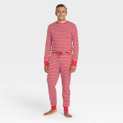 Men's Striped 100% Cotton Matching Family Pajama Set - Red