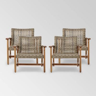 Hampton 4pk Wicker Mid-Century Club Chairs - Natural/Gray - Christopher Knight Home