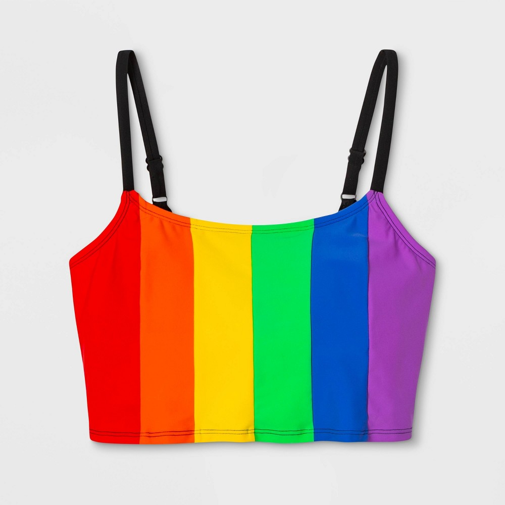 Image of Pride Gender Inclusive Adult Extended Size Rainbow Cami Swim Top - 1X, Adult Unisex, Size: 1XL, MultiColored