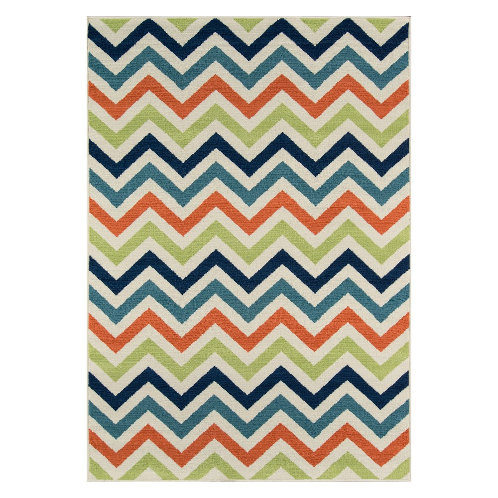"Image of ""1'8""""X3'7"""" Chevron Loomed Accent Rug - Momeni, Multi-Colored"""