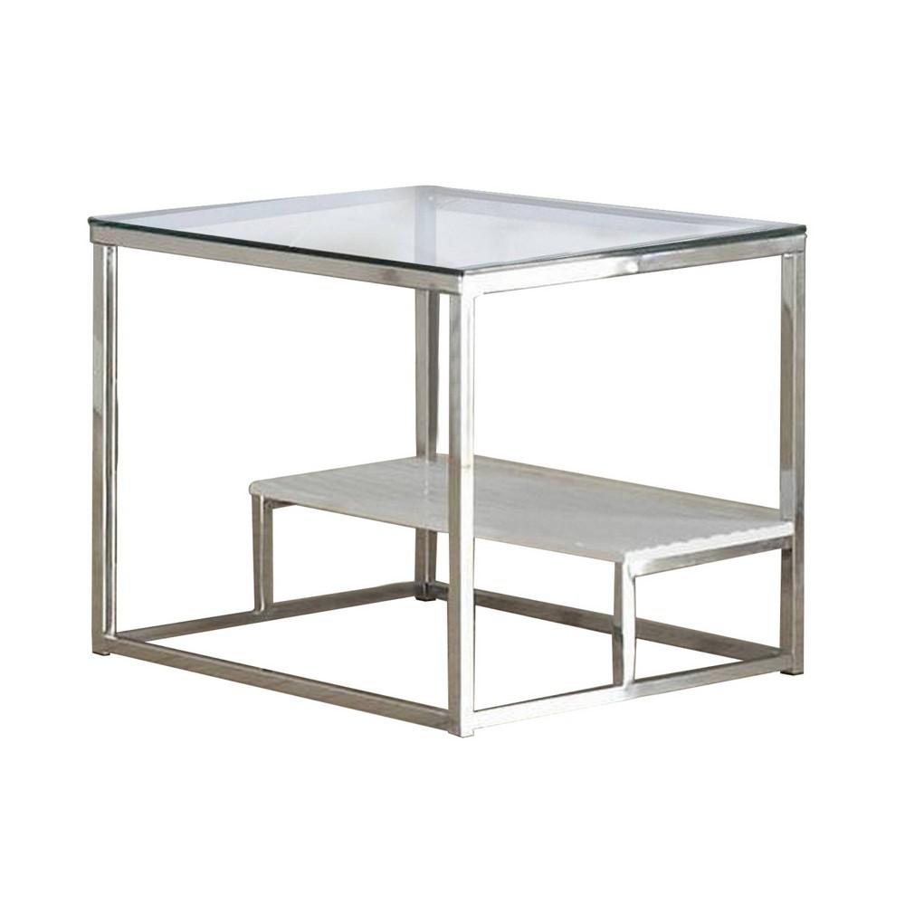 22 34 Glass Top Contemporary End Table With Shelf Silver Benzara