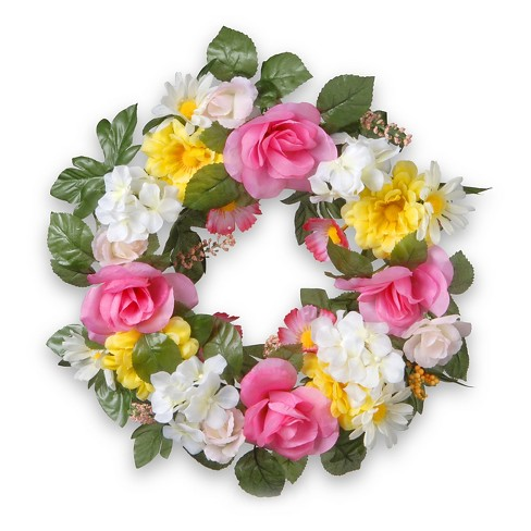 Decorated Wreaths With Roses And Daisies 18