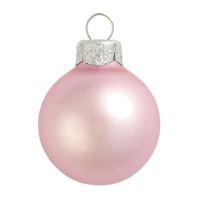 "Northlight 40ct Matte Glass Ball Christmas Ornament Set 1.25"" - Baby Pink"
