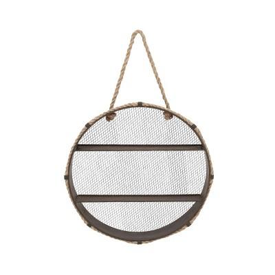 "24"" Iron Round Wall Shelf with Hanging Jute Rope - Olivia & May"