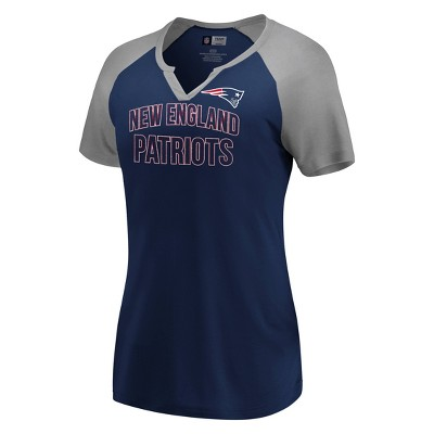 Nfl New England Patriots Women's Extreme Difference Notch Neck T Shirt by Nfl