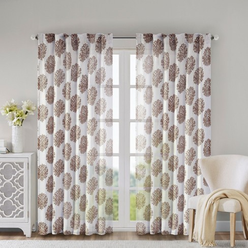"Reese Mdallion Burn-Ot Sher Curtain Panel - Gray (52""x95"") - image 1 of 9"