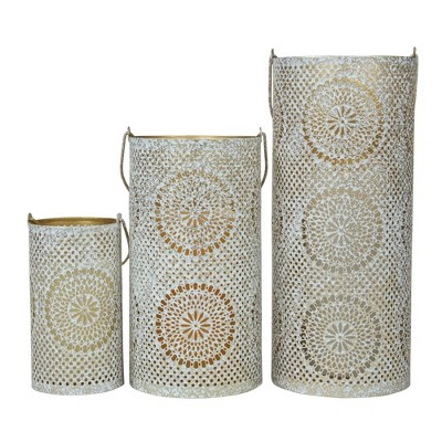 """Northlight Set of 3 White and Gold Moroccan Style Pillar Candle Lanterns 10"""""""