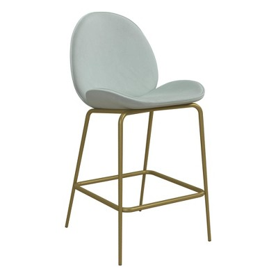 Astor Upholstered Counter Stool Bleached Teal Velvet with Brass Metal Leg - Cosmoliving By Cosmopolitan