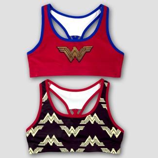 Girls' DC Comics Wonder Woman 2pk Sports Bra - Red/Black XL