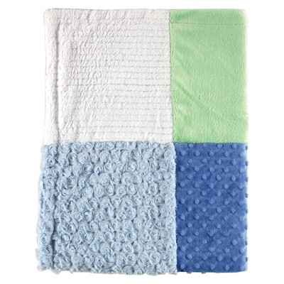 Hudson Baby Unisex Baby Multi-Fabric Panel Plush Blanket - Blue One Size