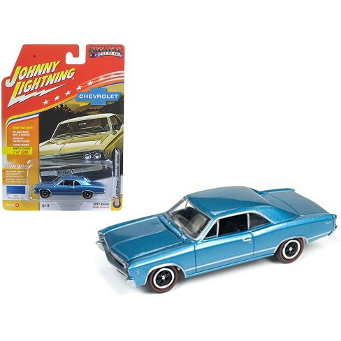 """1967 chevrolet chevelle blue """"muscle cars usa"""" 1/64 diecast model"""
