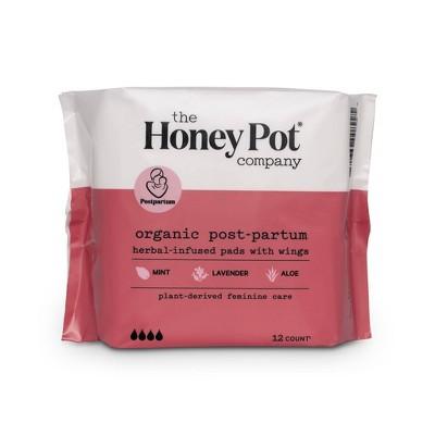The Honey Pot Organic Cotton Herbal Postpartum Pads - 12ct