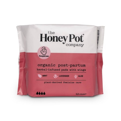 The Honey Pot Organic Cotton Herbal Postpartum Pads - 12ct - image 1 of 4