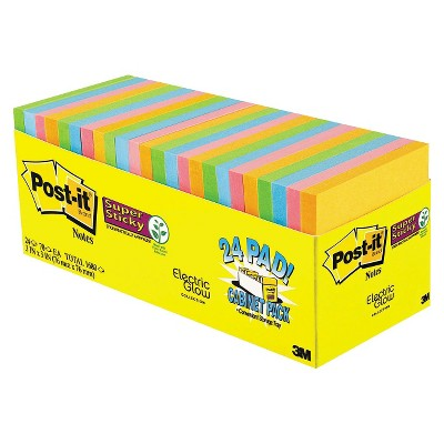 Post It® Super Sticky Notes   Assorted (24 Pads Per Box) by It® Super Sticky Notes