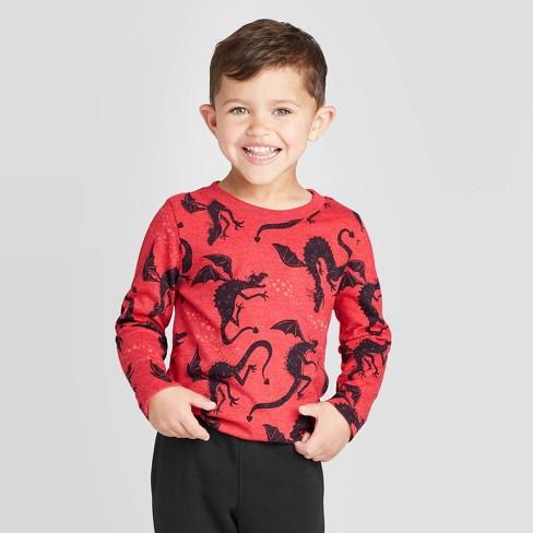 Toddler Boys' Long Sleeve 2Pc Dragon T-Shirt & Jogger Pants - Cat & Jack™ Red - image 1 of 3